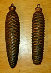 Antique Pair Large Black Forest Cuckoo Clock Pine Cone Weights Made In Germany