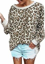 Ecowish Womenand039s Camouflage Print Casual Leopard Pullover Long Sleeve Sweatshirts