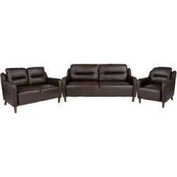 Flash Furniture And Bustle Back Chair Loveseat And Sofa Set In Brown Leathersoft