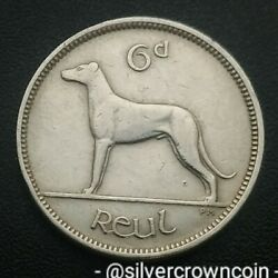 Ireland Eire 6 Pence 1949. Km13a. Sixpence Coin. Harp. Dog. Animals Wolfhound H