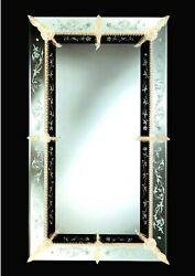 Mirror Venetian Glass Of Murano Carved Frame In Gold 24 Made In Italy