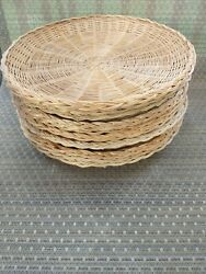 Vintage Retro Wicker Paper Plate Holders Rattan Picnic, Camping Lot Of 11