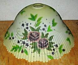 Glynda Turley Reverse Painted Ribbed 14 Glass Shade W/ Purple Roses