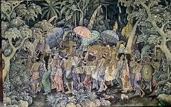 Balinese Original Painting Of Religious Procession By Nyoman Nampi. Huge 30x48