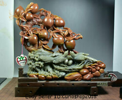 15.2 Old China Natural Shoushan Stone Carved Shou Peach Tree Birdand039s-nest Statue