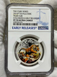 2016 P Tuvalu Proof Colorized Silver The Tiger Cubs Ngc Pf70 1/2 Oz Coin Loc4
