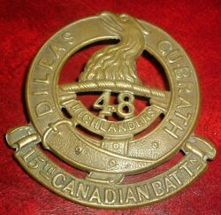 Cap Badges-ww1 Canadian Cef 15th 48th Highlanders Large Badge Small 48 Ref 15a-2