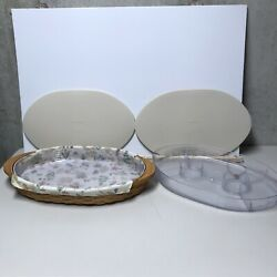 Longaberger Oval Serving Tray Basket 2 Protectors Single And Divided With Liner