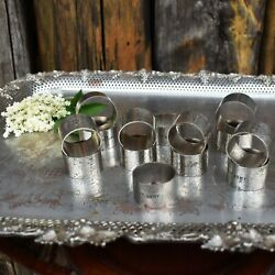 Antique Ww1 Ww2 1st Army Military Hammered Silver Plate Napkin Rings British Set