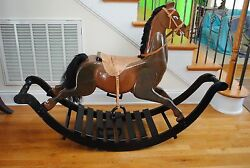 Rare 5' Hand Made Solid Wood Rocking Horse Child Kid Toy Collector Heritage