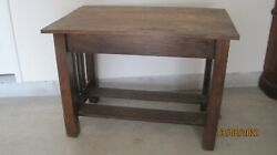 Vintage Arts And Crafts Mission Style Oak 31 X 42 Library Desk Table