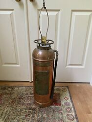 Vintage Brass Fire Extinguisher Converted To Lamp Quick Aid Fire Guard 33andrdquo