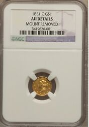 1851-c 1 Gold Liberty Head One Dollar Coin- Au Details - Rare Charlotte Gold