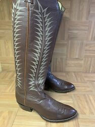 Vtg🔥 Tony Lama Extra Tall Riding Boots 13 Men's Brown Leather Sky High Rancher