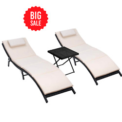 3 Pcs Outdoor Patio Adjustable Folding Lawn Poolside Chaise Lounge Chair Beige