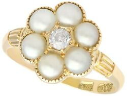 Natural Pearl And 0.20ct Diamond 18ct Yellow Gold Cluster Ring - Antique