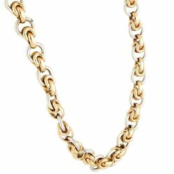 9carat Yellow And White Gold 18.5 Fancy Necklace 7mm Wide