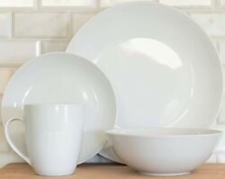 10 Strawberry Street 16-piece White Coupe Dinnerware Set Service For 4 New