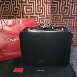 Rare Black Leather Suitcase Valise Cuir Brushed Metal 60and039s Style 1990