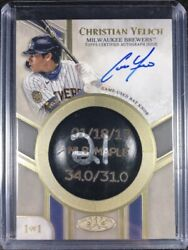 Christian Yelich 1/1 Bat Knob Autograph From 2021 Topps Tier One Baseball