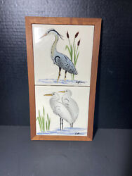 Hand-painted Signed Tiles Depicting Egrets And Heron