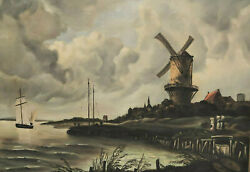 Signed Hitzer Hilzer - Dutch Landscape With Windmill On The Water