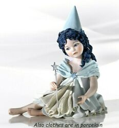 Statue Porcelain Figurine By Faerie Turqoise Seated Made By Hand In Italy