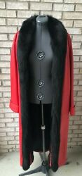 Red Lamb Leather Coat With Fox Trim Size Xl New