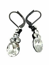 Givenchy Crystal Hanging Earrings Dangling Signed Vintage Rare Costume Jewelry