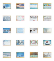 Ambesonne Winter Panorama Wall Art With Wide Frame For Bathrooms Living Room