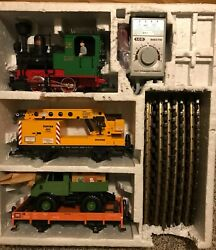 Preowned-lgb 73401 Work Train Set W/circle Track, Power Pack And Terminal Wires