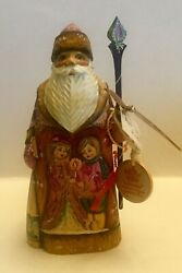 G Debrekht 'children Loving' Carved And Painted Santa Russia - W/ Coa, 2nd Yr