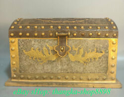 10 Old Chinese Copper 24k Gilt Gold Dynasty Phoenix Birds Jewelry Box Chest