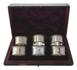 Antique Sterling Silver - Set Of 6 Rolason Brothers Napkin Rings - Boxed - 1893