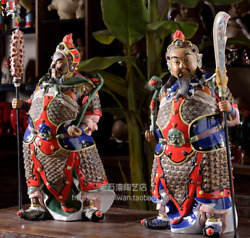 22and039and039 Exquisite Shiwan Pottery Porcelain Warrior God Door God Immortal Faqi Pair