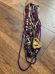 Antique Large Millefiori Bead And More Venetian African Trade Beads Necklace Lot