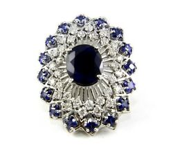 Natural Oval Blue Sapphire And Diamond Halo Solitaire Ring 14k White Gold 9.33ct