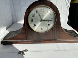 Antique Mahogany Waterbury Mantle Shelf Westminster Gong Chime Clock Untested