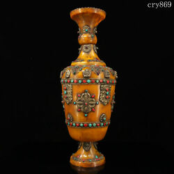 20collection Old Antique Tibet Beeswax Inlaid With Gems Pinching Silk Vase