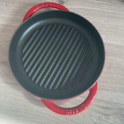 Staub Grill Pan Pure Grill Cherry 8.6in Unused New Corrugated Plate M6716