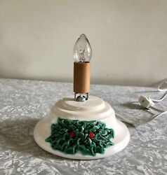 Vtg Replacement Small Ceramic Christmas Tree Lighted Base Only White W/ Holly 5