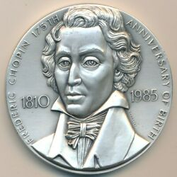 1985 Medallic Art Co Silver Medal-frederic Chopin-194 Grams 999 Fine-ships Free