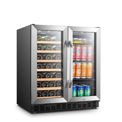 30 In. 33-bottle 70-can Stainless Steel Dual Zone Combo Wine And Beverage Refrig