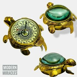 Vintage Brass Antique Turtle Style Desk Clock For Office Home Decor Gift Marine
