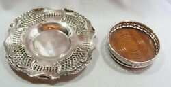 2 Silver Plated Antique Wine Bottle Coasters Champagne Pierced Side Epns English
