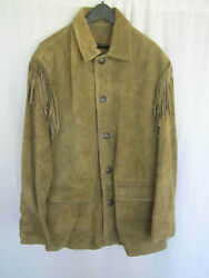J. Peterman Fringed Leather Jacket Moss Green Brown Large New Without Tags