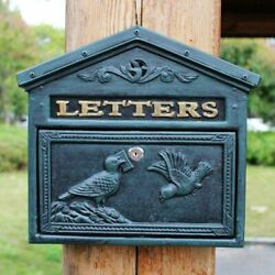 Vintage Cast Iron Dove Pigeon Wall Door Mounted Mail Box Home Letter Handmade
