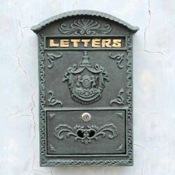 Vintage Cast Iron Angel Badge Wall Door Mounted Mail Box Home Letter Handmade