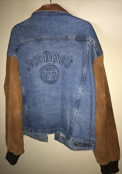 Xxl Jack Daniels Whiskey Embroidered Mens Denim Suede Sleeves Collar Jacket Rare