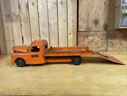 Structo Toys 1940s Pressed Steel Tow Truck Wrecker Flatbed Winch And Ramp Orange